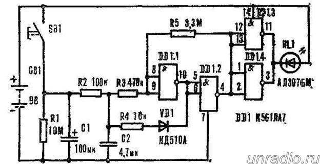Три схемы 'мигалок' на светодиодах
