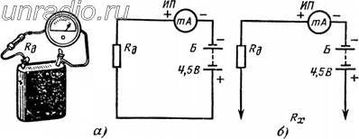 а - подбор добавочного резистора, б - схема прибора. Рис. 233. . Простой омметр