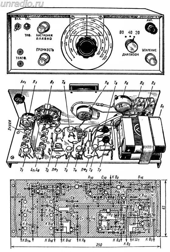 Конструкция приемника и его монтажная плата со схемой соединений деталей на ней показаны на рис. 357.