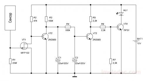 Схема простого сенсорного