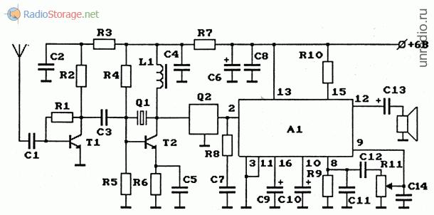 Схема AM-радиоприемника на ИС К174ХА10