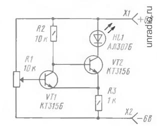 Простой триггер Шмитта на двух транзисторах