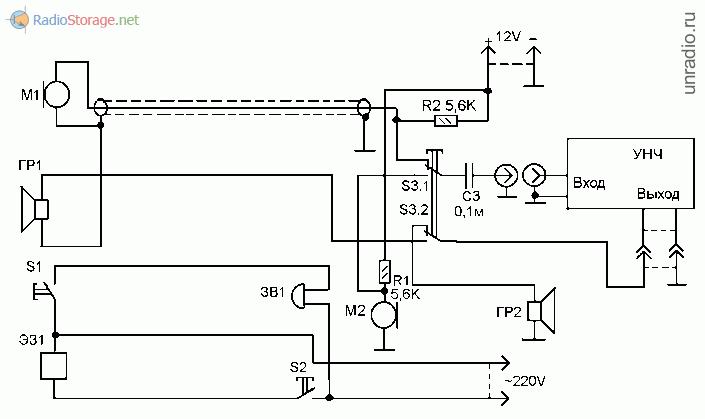 Принципиальная схема домофона из деталей от радиоаппаратуры