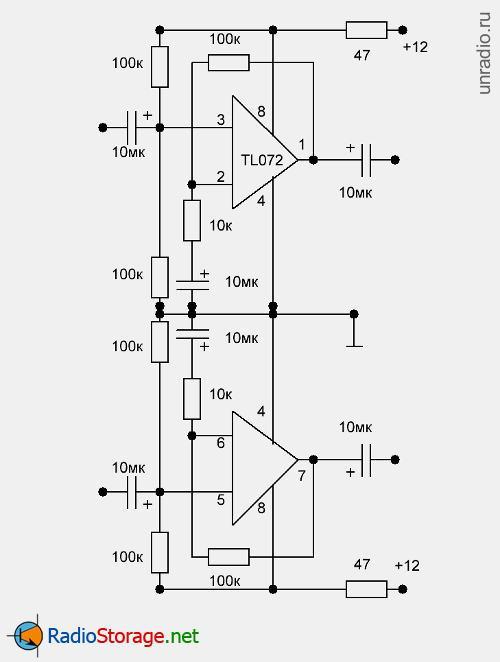 Схема входных усилителей на микросхеме Tl071