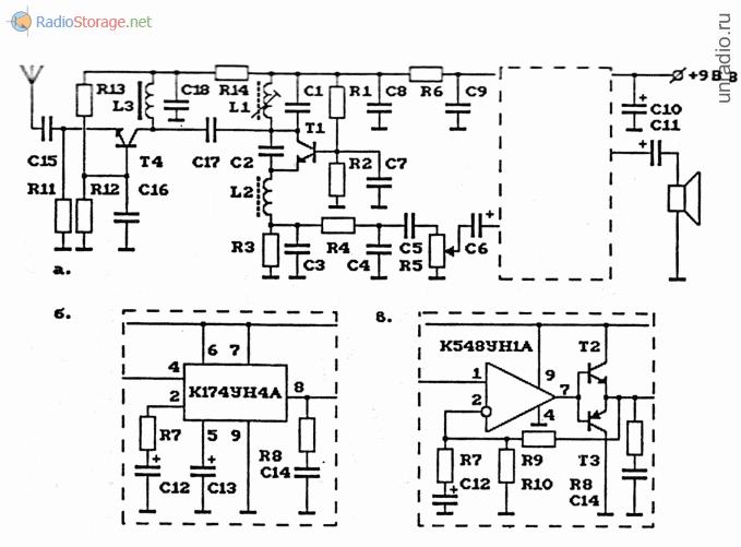 Схема AM-радиоприемника (сверхрегенератор) на 27 МГц с УВЧ