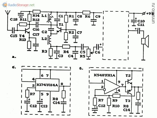 Схема AM-радиоприемника (сверхрегенератор) на 27 МГц с УВЧ и УНЧ на К174УН4А К548УН1А.