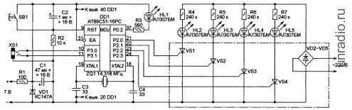Схема микроконтроллерного управления новогодней гирляндой