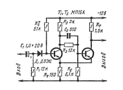 работа транзистора в триггере Шмитта